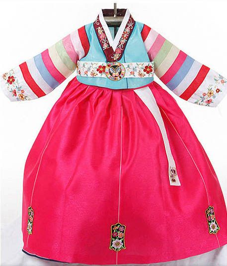 Light blue and pink hanbok with striped and floral sleeves