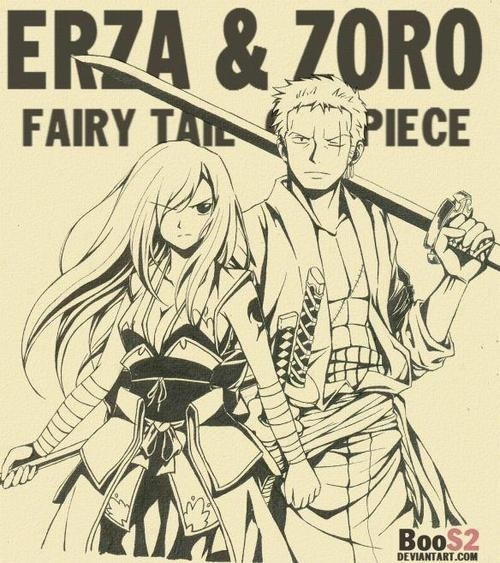 Zoro and Erza #one piece #fairy tail, normally I don't cross anything but they make such a great pair!! ❤️❤️❤️