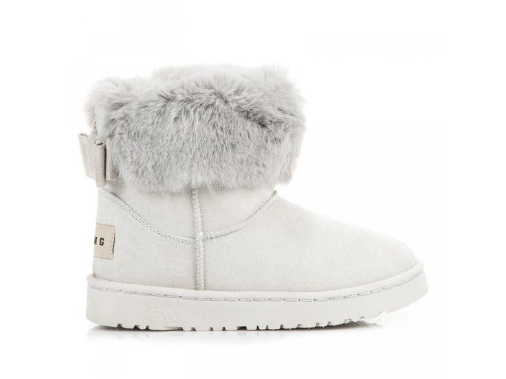 Sivé snehule s kožušinou a mašľou Bella Paris