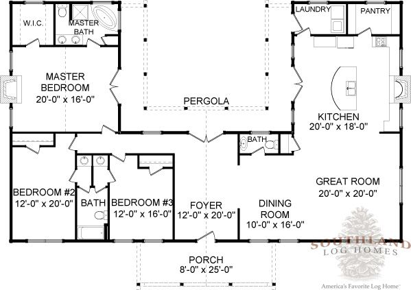 Four Seasons Log Cabin Floor Plan | Southland Log Homes,,,, remove 1/2 bath. Add door to bathroom in hallway shared by bedrooms