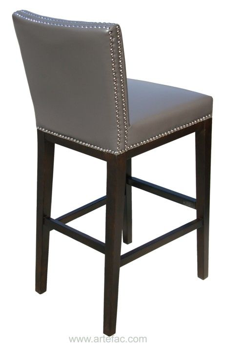 SR-75873 Leather Bar/Counter Stool with Nail Head Grey