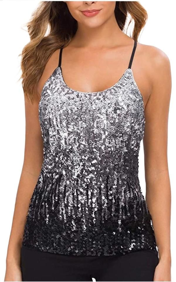 Womens Tops Sparkly Sequin Tank Top Camisole Adjustable Straps