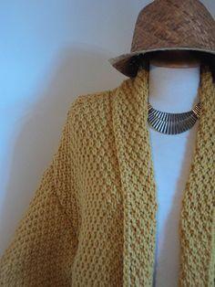 MAGNIFIQUE VESTE AU POINT DE BLE! tricot, facile, rapide, jaune moutarde, yarn, wool, knitting