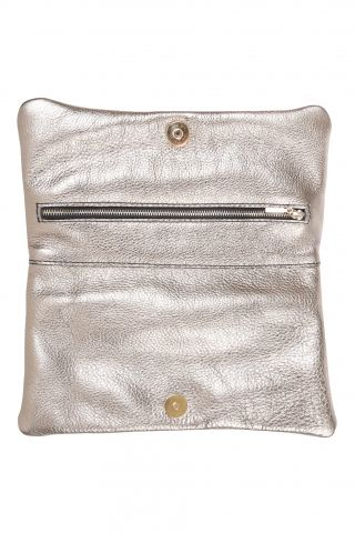 Fancy Party Clutch (champagne) A simple clutch made of soft, fleshy leather  Original complement for smaller and bigger parties. In the front it has our gold embossed logo, inside, zipper pocket closed that will accommodate your favorite lip gloss and a cell phone. Closed with magnetic lock. It goes perfectly with both casual outfit or elegant dress.