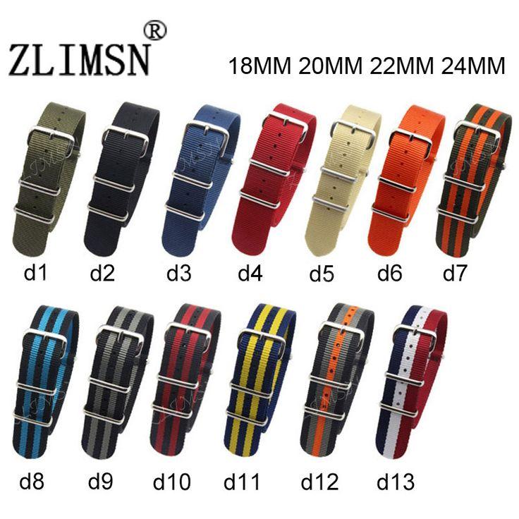 Zlimsn para la otan nylon correa de reloj correas de reloj de correa de hebilla de metal Deporte ejército Mens Venda De reloj 18mm 20mm 22mm 24mm Relojes Hombre 2017