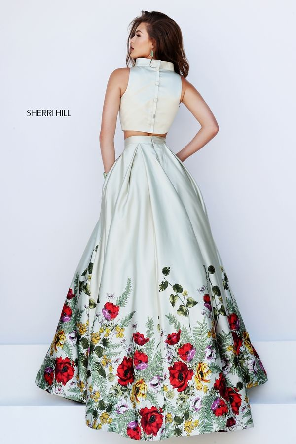 Amazing  Two Piece Floral Print Sherri Hill Prom Dress