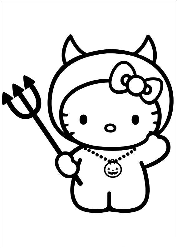 Hello Kitty Holding A Trident Coloring Pages For Kids Printable