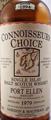 Port Ellen Single Malt Scotch Whisky - Single Malt Scotch Whisky - A rare Connoisseurs Choice bottling of Port Ellen Single Malt Scotch Whisky.  Distilled in 1979 and bottled in 1994 by Gordon & MacPhail.