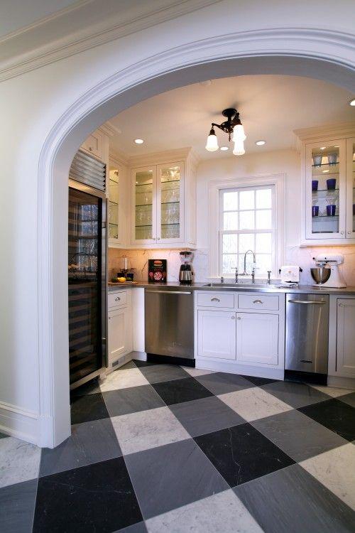 love that floor - Black And White Kitchen Floor Ideas
