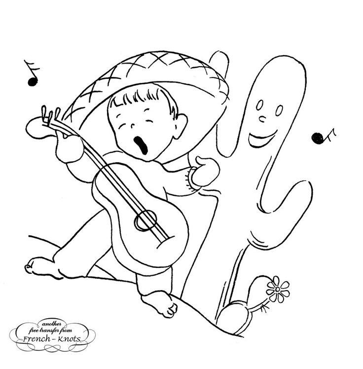 Mexican boy singing embroidery transfer pattern