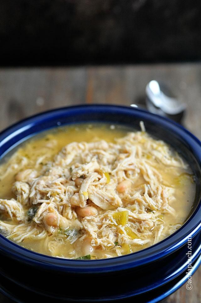 White Chicken Chili Recipe for cool fall days from addapinch.com