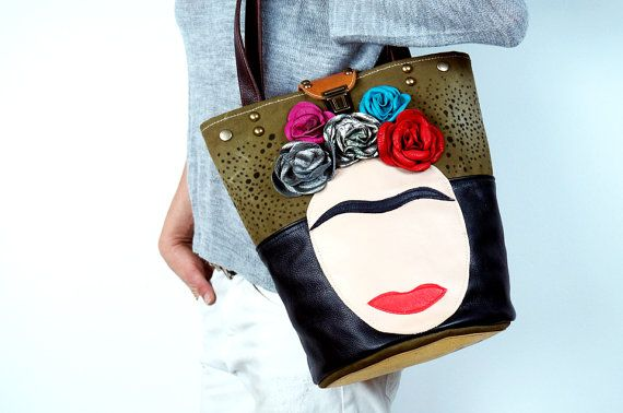 Frida Leather & Canvas Bag/Black Leather and by NeroliHandbags