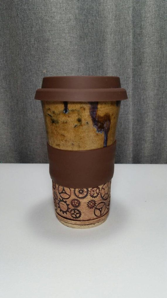 Clay Travel tumbler / Commuter mug with silicone by 3PointsArtwork