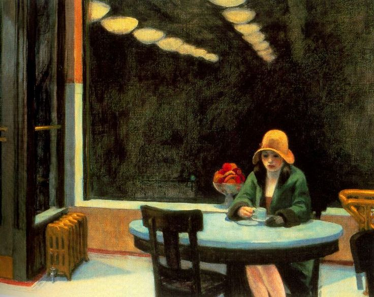 What: Automat Whom: Edward Hopper When: 1927 How: oil on canvas Where:  	Des Moines Art Center, Des Moines