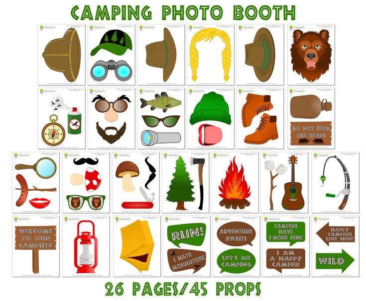 PRINTABLE Camping Photo Booth Props–Camping Photo Props-Camper Photo Booth Props-Camping Party Props-Scout Photo Props-Instant Download