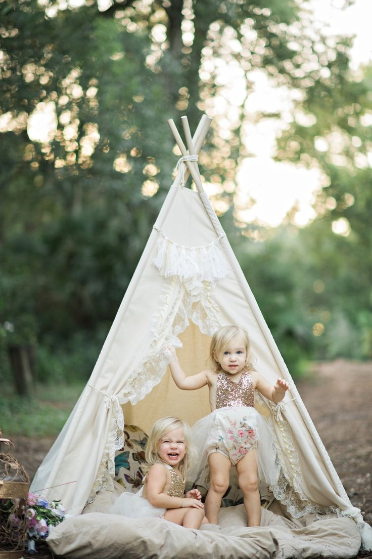 cute etsy kids outfits - 2 year old twins photoshoot with bohemian teepee and butterfly theme
