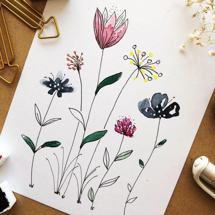 Anleitung Fur Einfach Gemalte Aquarellblumen Mit Farben Und