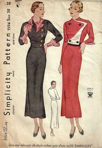 Simplicity 1594 | 1930s NRA Misses' Dress black white red button front long skirt art deco bias color illustration print ad vintage fashion style