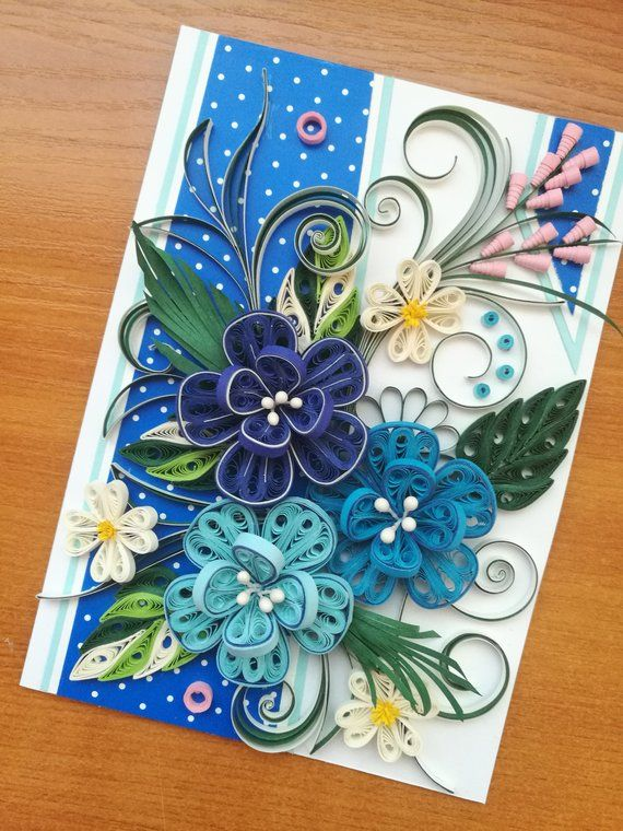 Beautiful Quilling Blue Flowers This Quilling Card Is Perfect