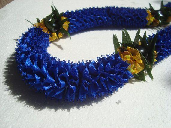 Hawaiian Ribbon Lei Blue Carnation with Kukui Nut and Flowers