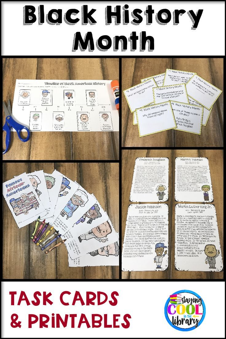 This set of task cards and printables provides facts about 8 different African Americans: Barrack Obama, Thurgood Marshall, Frederick Douglass, Harriet Tubman, Jackie Robinson, Ruby Bridges and Rosa Parks. Includes task cards, comprehension questions, graphic organizers, a minibook and a timeline activity.