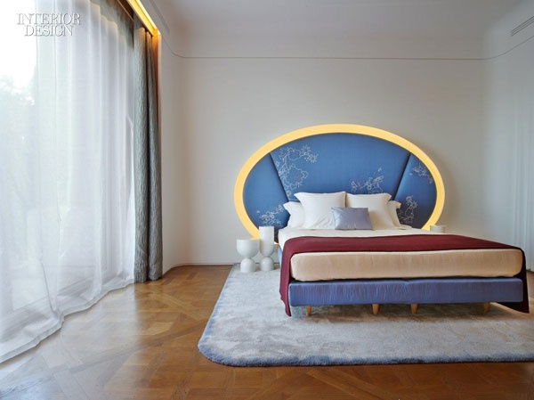 Ramy Fischler: Paris Duplex upholstered bed in custom-embroidered silk and framed in resin with integrated LEDs