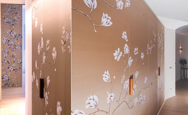Entrance wall in Misha's modern chinoiserie, Oriental wallpaper design on Turtle Dove dyed silk.