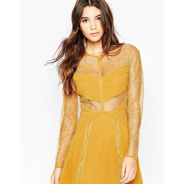 ASOS PETITE Mini Lace Skater with Cut Outs ($55) ❤ liked on Polyvore featuring dresses, yellow, asos dresses, yellow skater dress, mini dress, skater dress and pleated dress