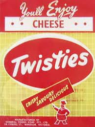 Twisties appeared in 1950 when Melbourne businessman Isador Magid imported a rotary head extruder from the US. He formed the Twistie Company and experimented with corn in an attempt to create a new snack food. He was unsuccessful and agreed to sell the machine and the brand in 1955 to Monty Lea from Darrell Lea for £12,000. The Lea family had much greater success and Twisties are now an iconic Australian snack food, also available throughout Asia. Photo from Me and My Big Mouth by Jan…