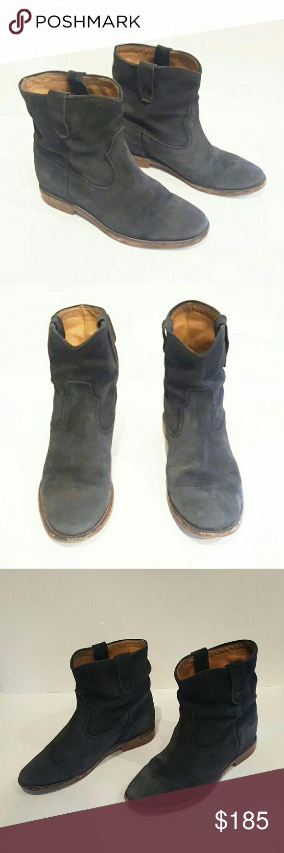 ISABEL MARANT GREY SUEDE HIDDEN WEDGE BOOTIES ISABEL MARANT ETOILE HIDDEN WEDGE BOOTIE BOOTS ANKLE  GUC SOME DAMAGE TO HEEL OVERALL GREAT SHAPE  MADE IN PORTUGAL Isabel Marant Shoes Ankle Boots & Booties