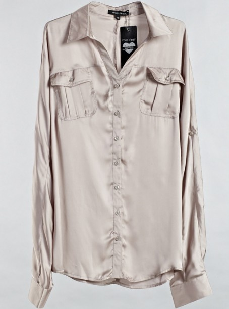 Khaki Lapel Long Sleeve Single Breasted Loose Polyester Shirt