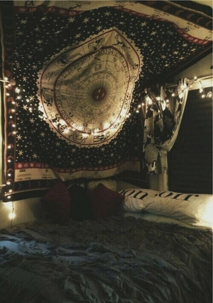 #afterdark // #planetblueblog magic star signs big blankets on wall/overhead christmas lights dark blue relaxing bed