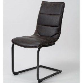 Duke - spisebordsstol i stål og mørke brunt læder