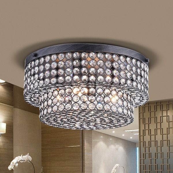 light up your home with this francisca two tier crystal flush mount chandelier in antique black
