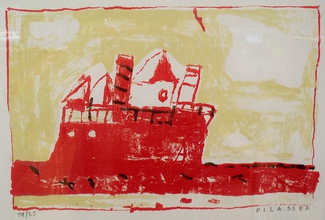 François Dilasser : Bateau-feu ,1992, lithographie sur arches by Mediatheque Bellevue, via Flickr