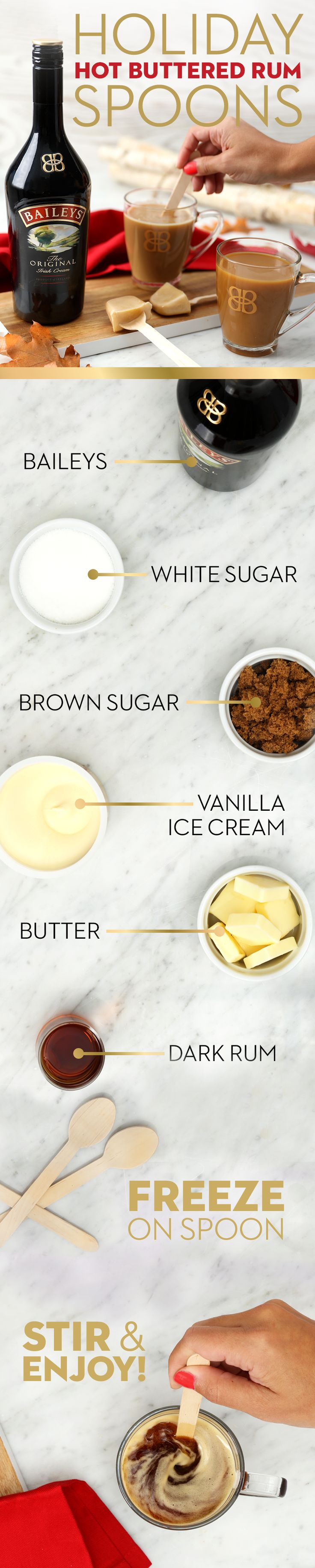 Tis the season for dinner parties, and guests are sure to swoon over this Baileys Irish Cream Liqueur twist on chocolate spoons: buttered rum batter spoons. Serve them during dessert to take your post-meal cup of joe from coffee to cocktails. To make, blend all ingredients including the ice cream and freeze overnight. Too full for dessert? Create these delicious and easy treats and send guests home with a unique and edible party favor that they're sure to indulge in during the holidays!