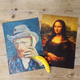 Poster Vincent & Lisa. #banana #monalisa #vincentvangogh #munch #parody #art #poster