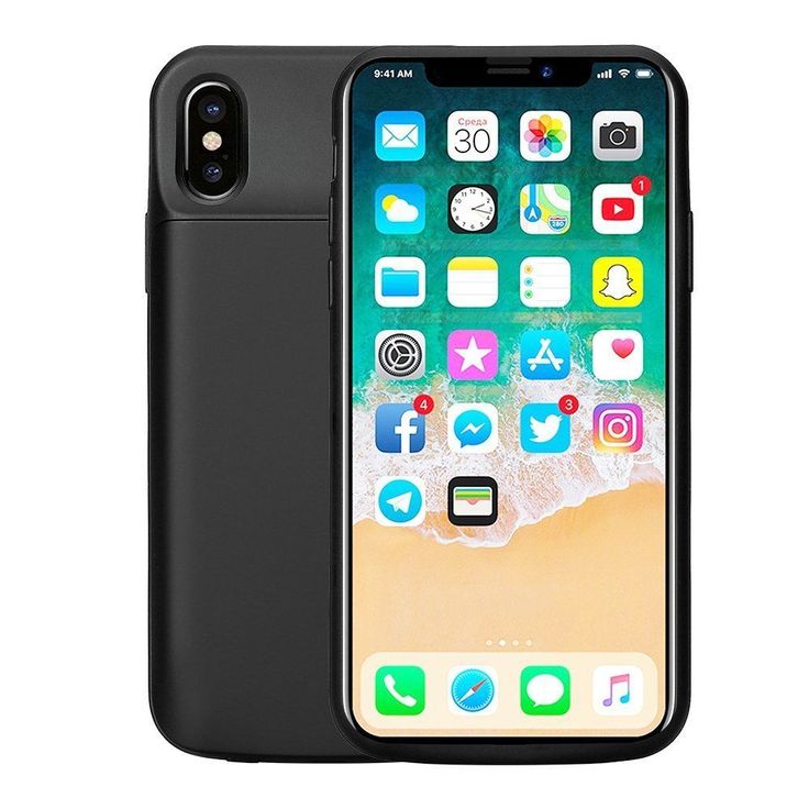 Iphone X Battery Case 6000 mAh Rechargeable External Charger Case 5.8 In. Black #Apple