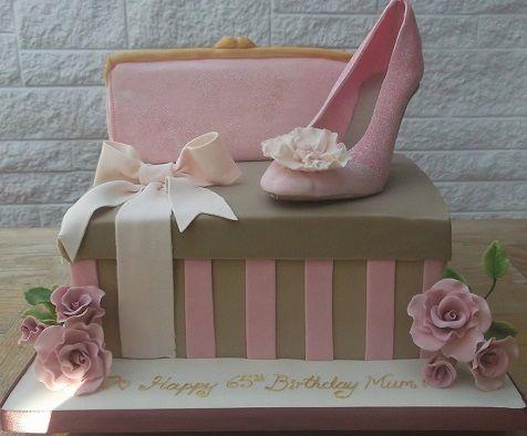 stiletto shoebox cake with handbag by Sylvie's Cake Creations