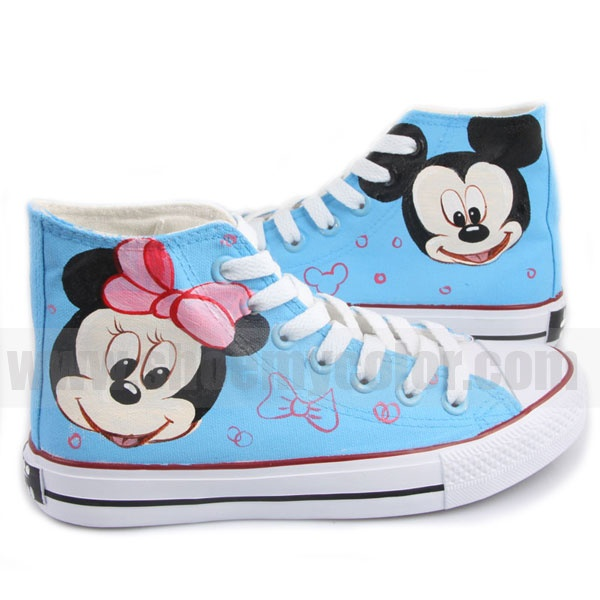 Mickey Mouse kids hand painted high top shoes