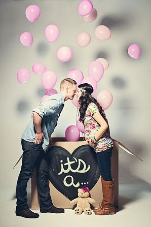 cute for future babies! gender reveal idea photography