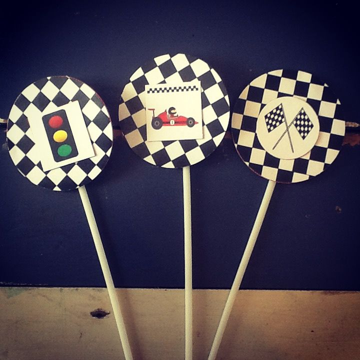Race Car Party Cupcake Toppers