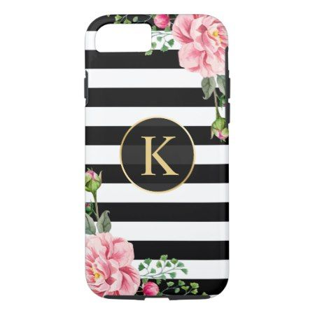 Vintage Floral Monogram Black White Striped iPhone 7 Case - click/tap to personalize and buy