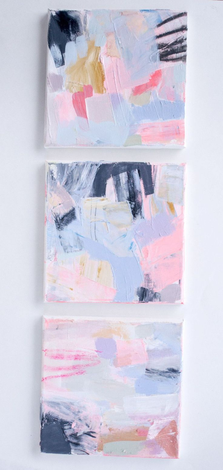 (3) 8 x 8 original abstract paintings by Brenna Giessen