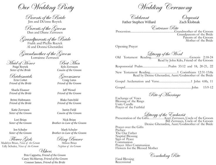 DIY wedding program with instructions