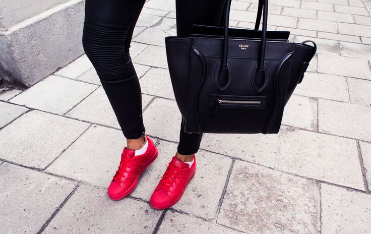 Kenza Zouiten - Adidas Superstar by Pharrell red sneakers http://FashionCognoscente.blogspot.com