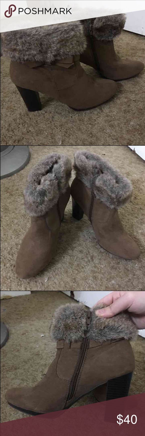 Fur ankle boots Worn once Shoes Ankle Boots & Booties