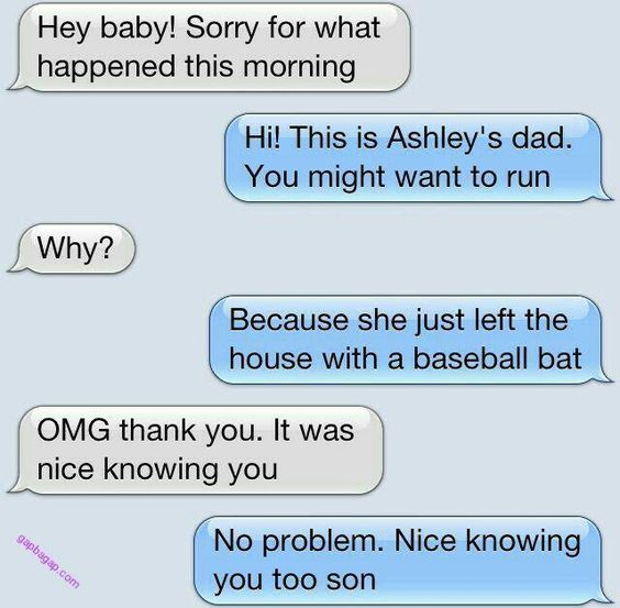 Funny Text About Dad vs. Daughter's Boyfriend