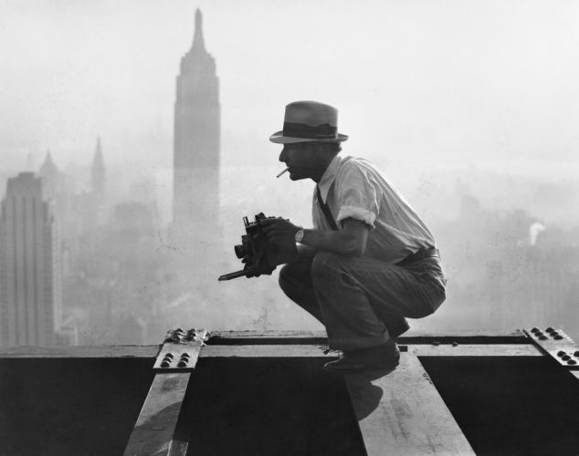 Charles Ebbets high above Manhattan.  He's the photographer who took that iconic shot of the crew eating lunch during Rockefeller Center construction  - New York City construction workers go to great heights - NY Daily News