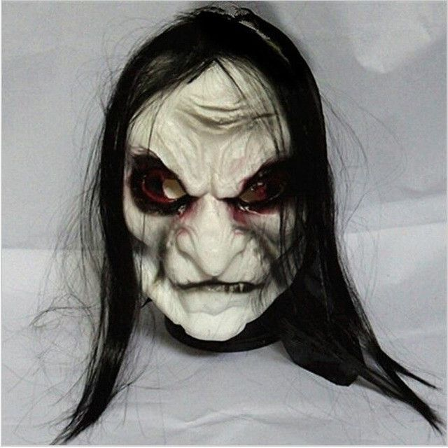 Horror! Halloween Mask Long Hair Ghost Scary Mask Props Grudge Ghost Hedging Zombie Mask Realistic Silicone Masks Masquerade,Q